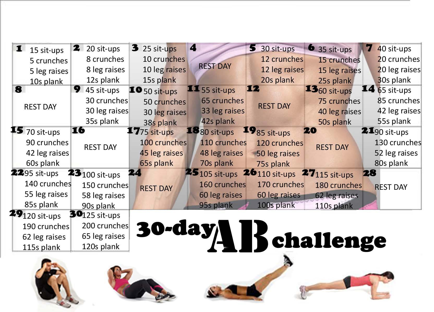 30 Day Ab Challenge | Fit Bitch For 30 Day Tummy Challenge Calendar