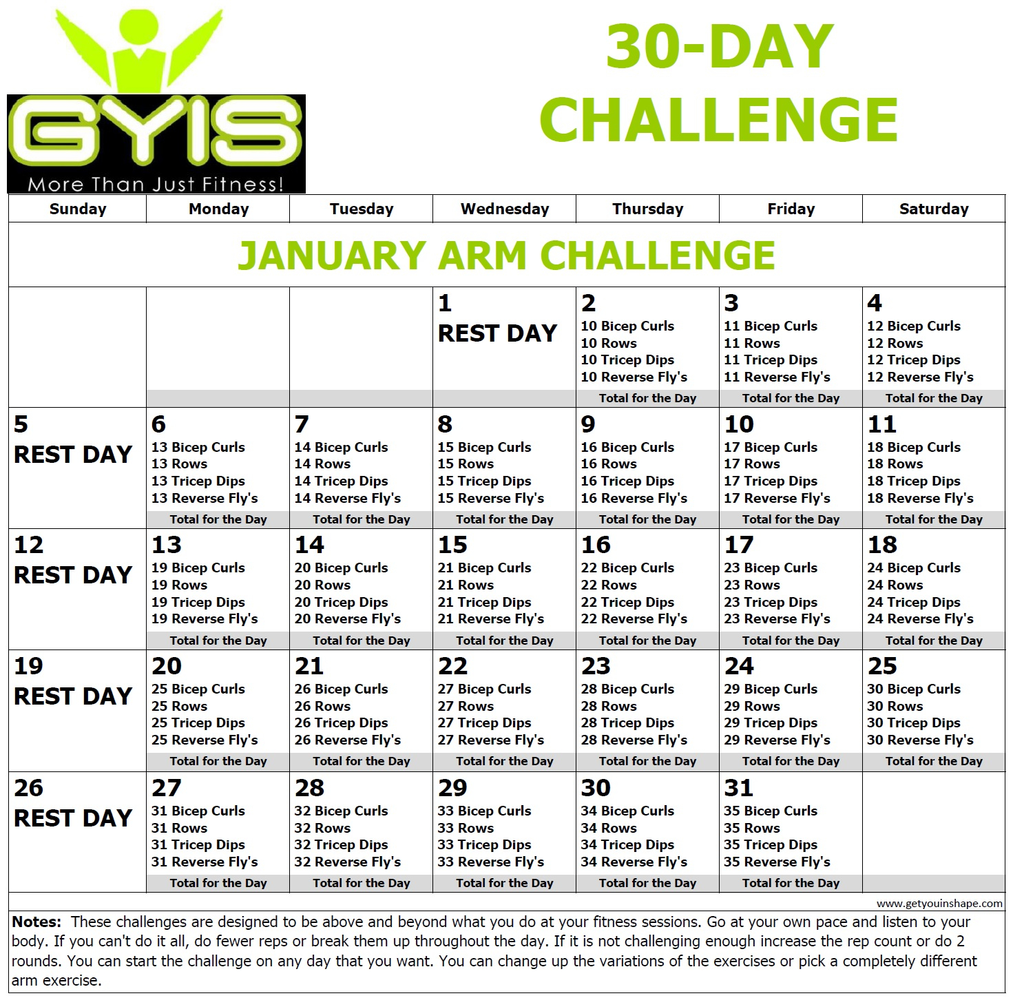30 Day Arm Challenge Jan 20 - With 30 Day Arm Challenge Pdf