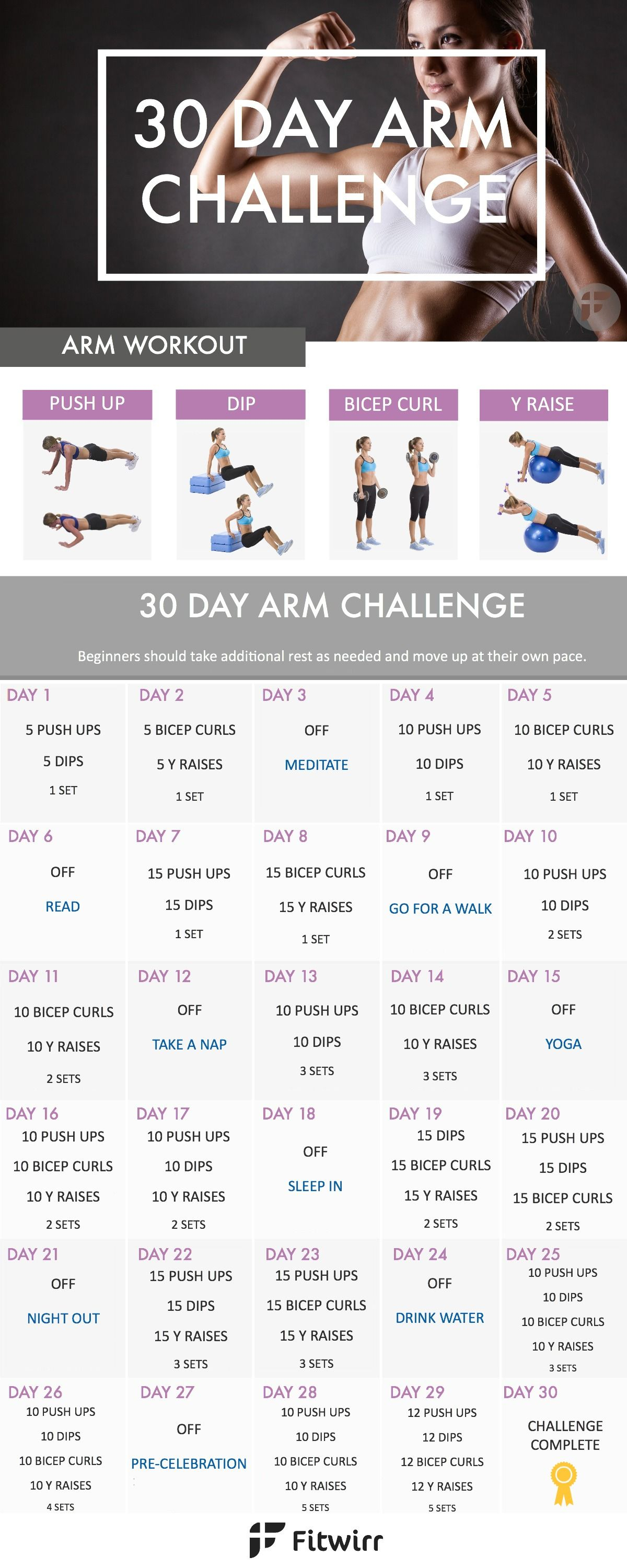 30 Day Arm Challenge To Sculpt Your Best Arms Ever | Arm Pertaining To 30 Day Arm Challenge Pdf