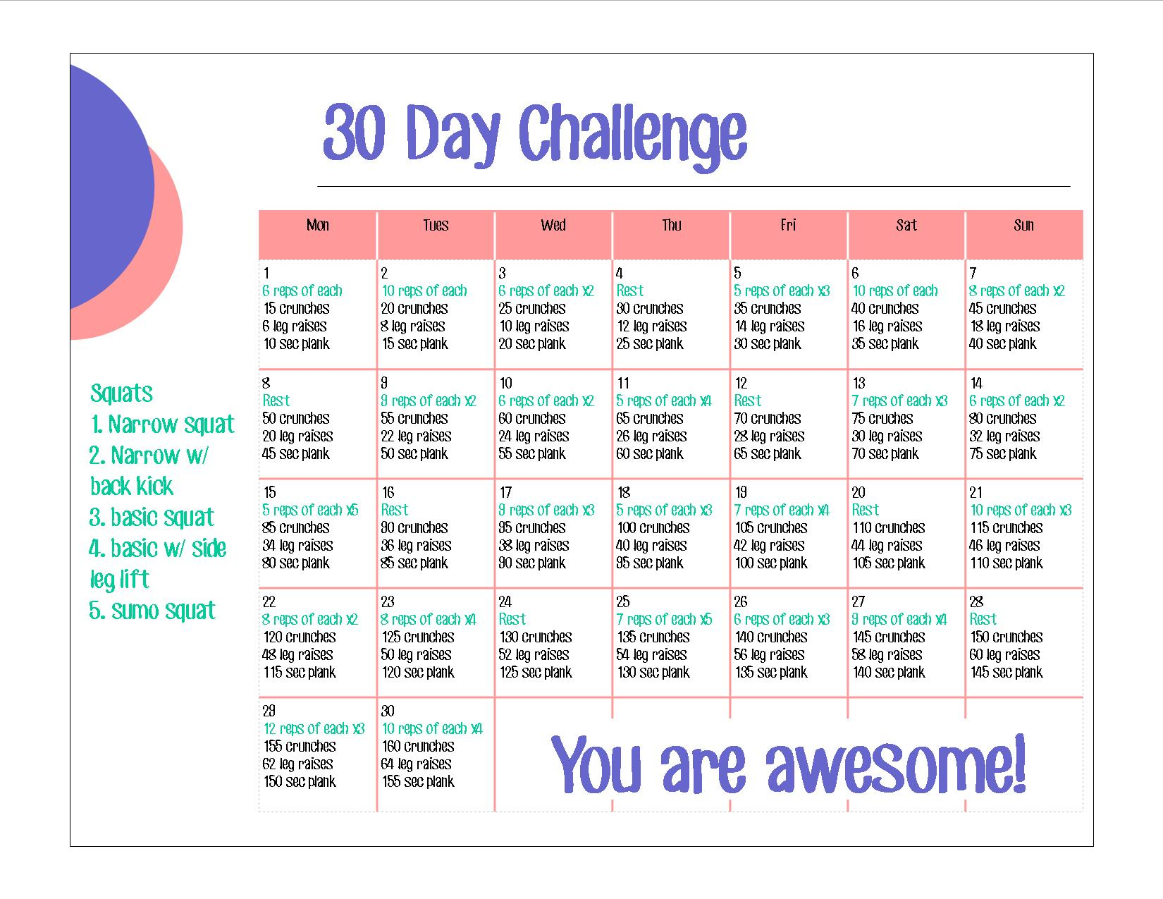 30 Day Challenge  Abs & Squats – Cypress + Wool Inside 30 Day Sit Up And Squat Challenge Printable