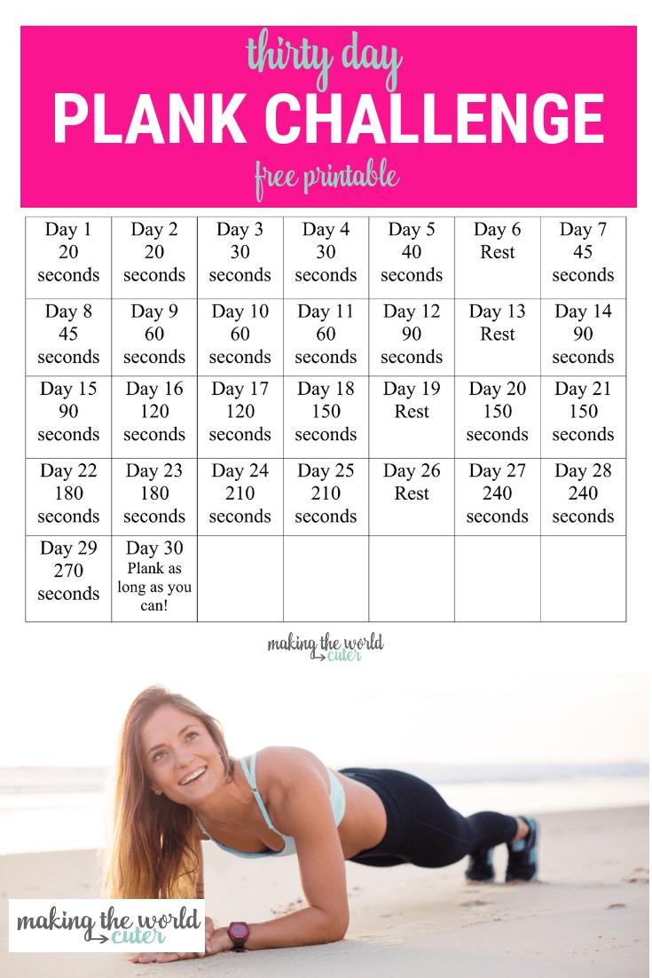 30 Day Plank Challenge Chart Regarding Ab Challenge Calendar Printable