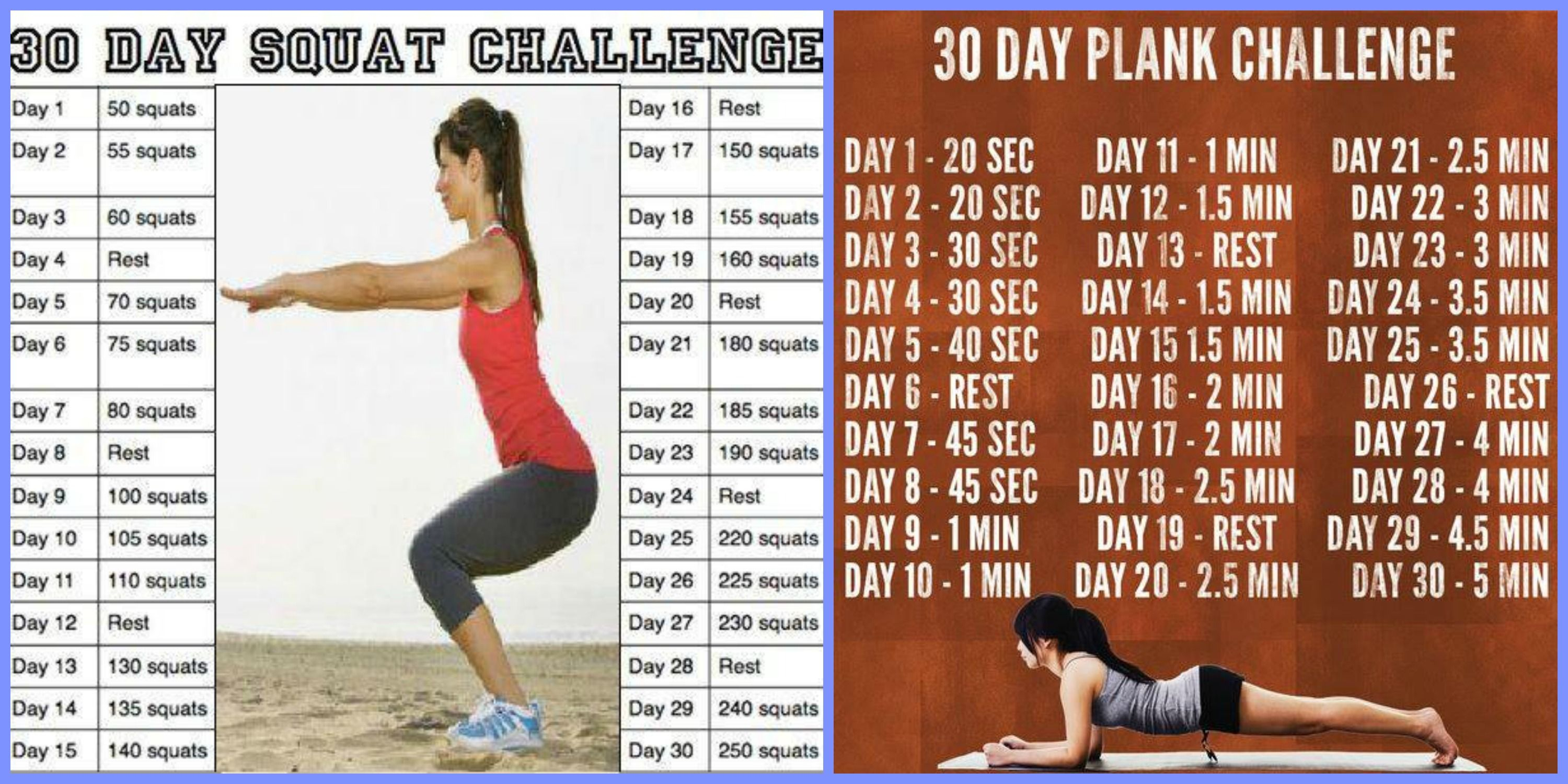 30 Day Squat Challenge Printable   30 Day Squat/plank Throughout 30 Day Sit Up And Squat Challenge Printable