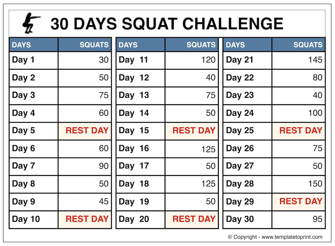 30 Day Squat Challenge Printable Calendar | Squat Workout At pertaining to Squat Challenge Calendar Beginner Printable