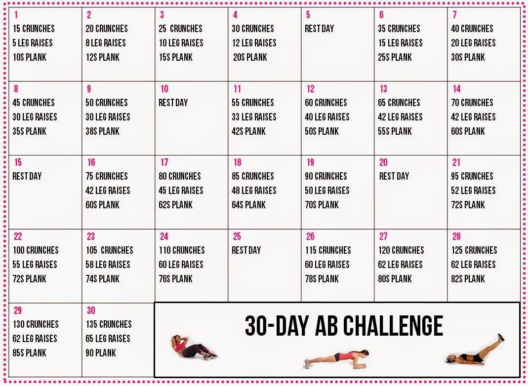 30 Day+Ab+Challenge+Calendar (1069×782) | Workout Pertaining To Ab Challenge Calendar Printable
