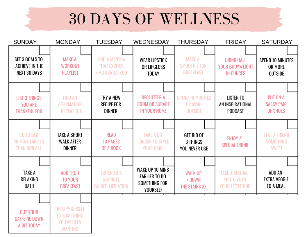 30 Days Of Wellness | Workout Accountability For Moms Inside Fitness Challenge Calendars For Students Pdf