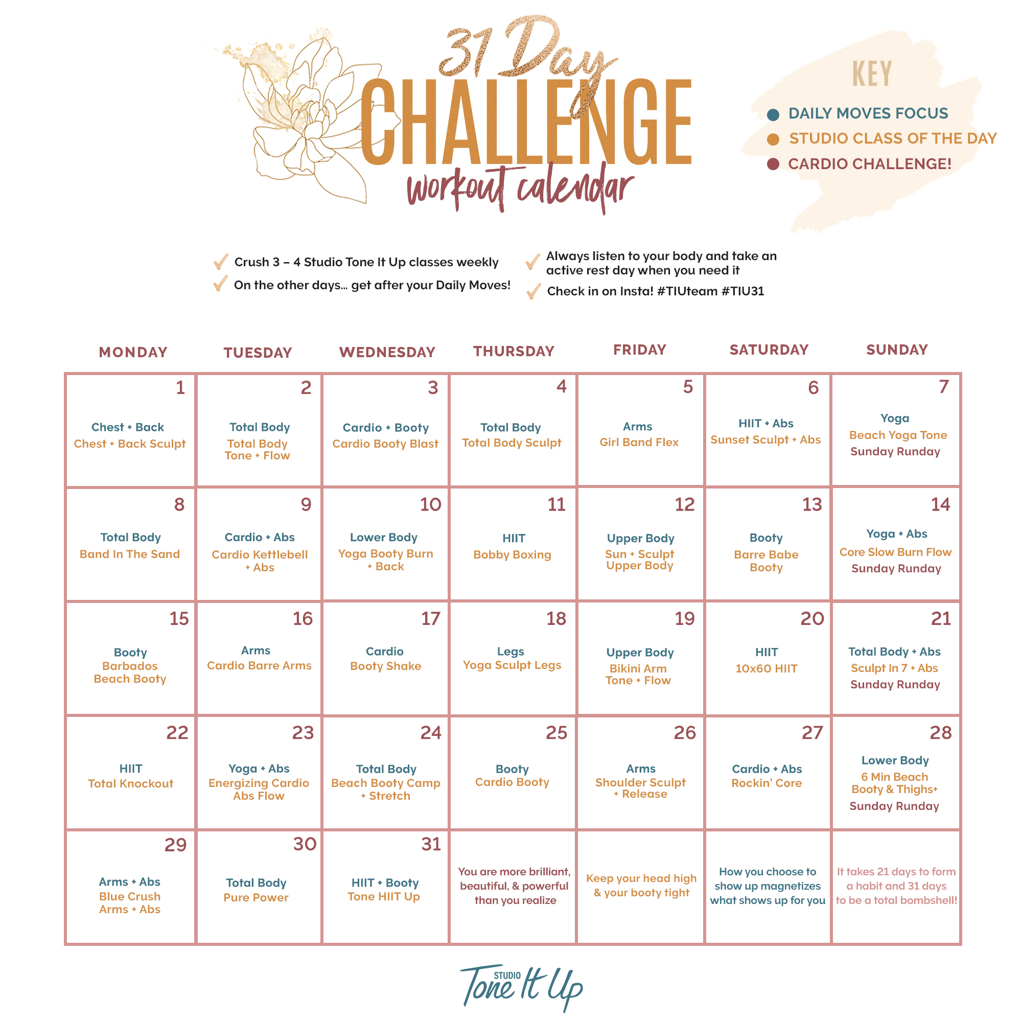 31 Day Challenge Week 1 Workout Schedule – Toneitup For Fitness Challenge Calendars For Students Pdf