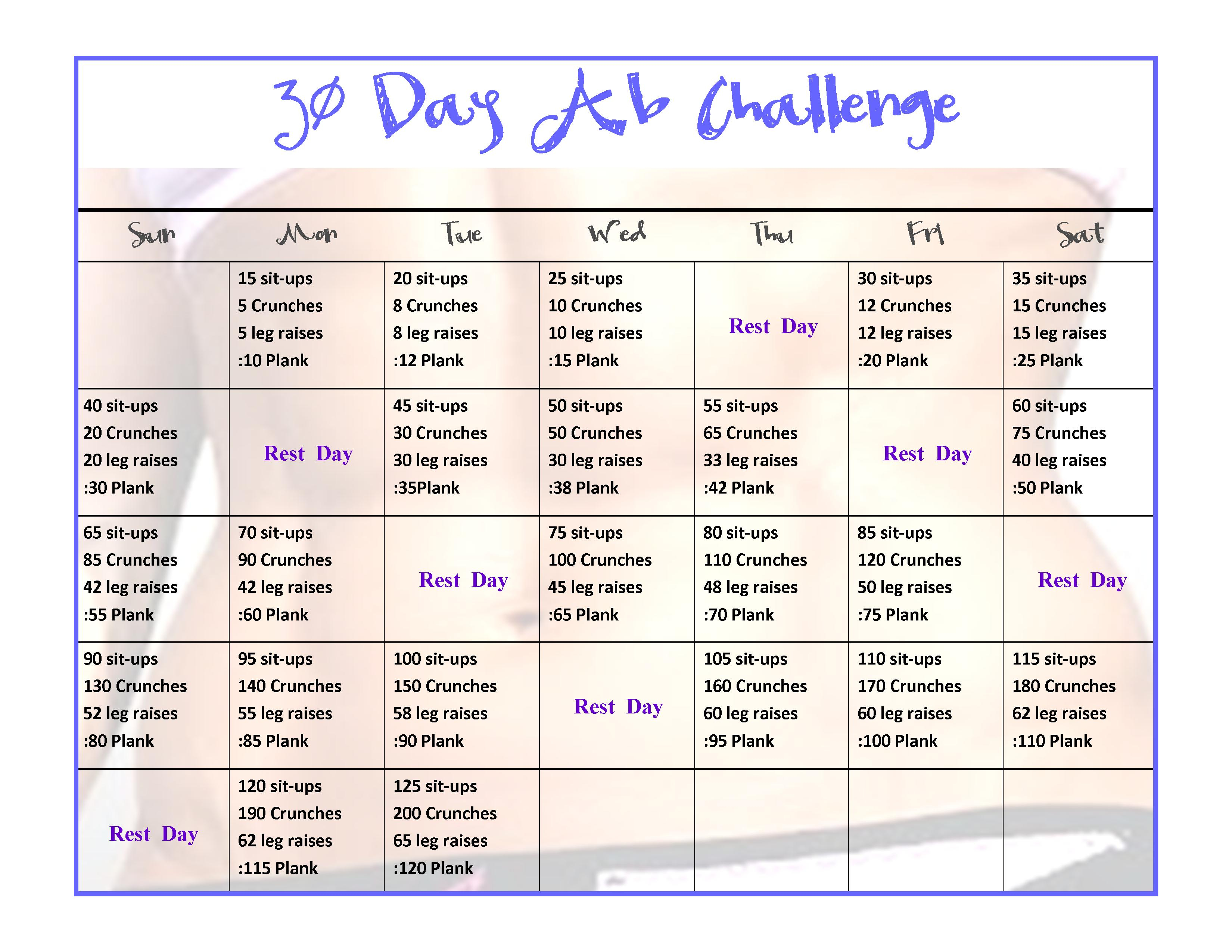 Abs 30 Days Worksheet | Printable Worksheets And Activities With 30 Day Sit Up And Squat Challenge Printable