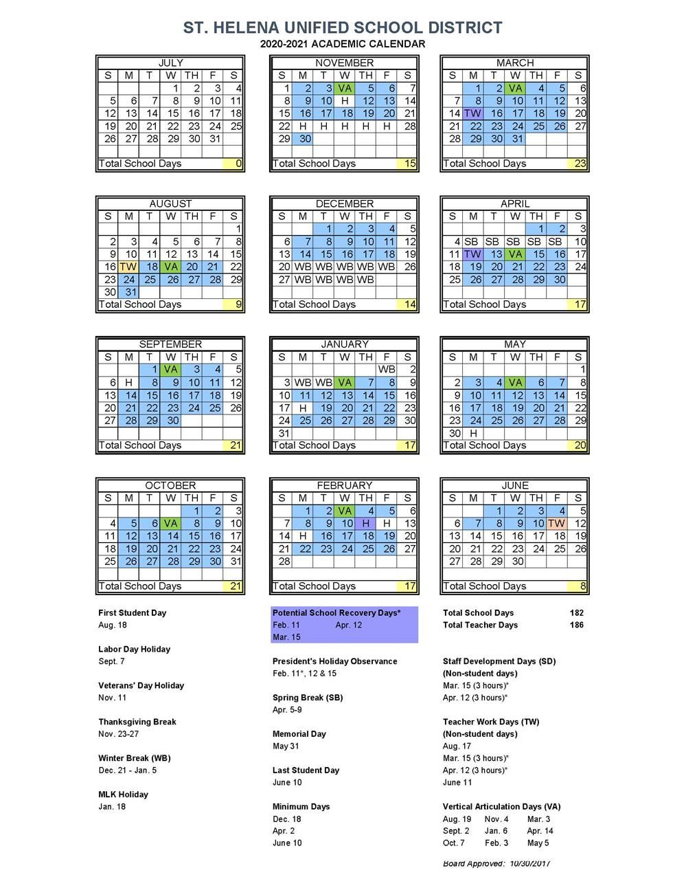 Academic Calendar / 2020 2021 Pertaining To Corona Norco Usd School Calendar 2021
