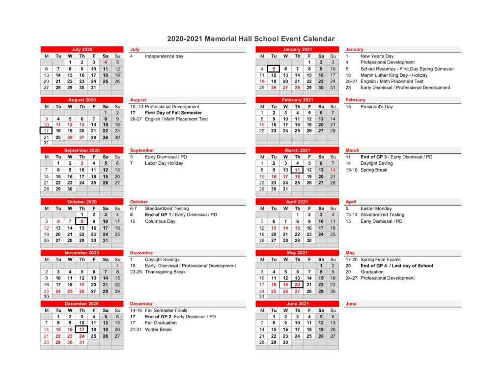 Academic Calendar 2020 21 | Memorial Hall School Pertaining To University Of Houston 2021 2021 Calendar