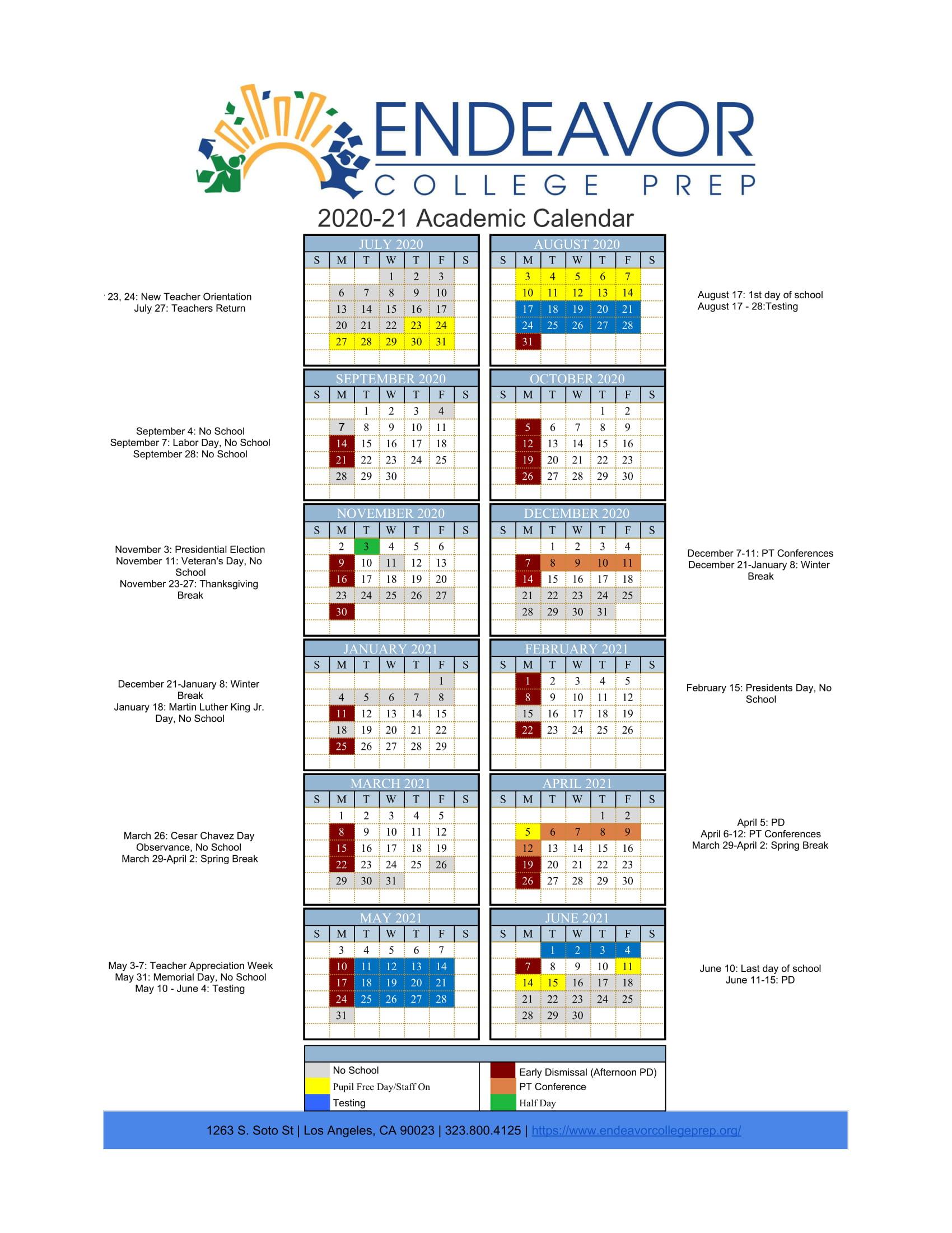 Academic Calendar - Endeavor College Prep Inside Cal State Long Beach Academic Calendar 2021
