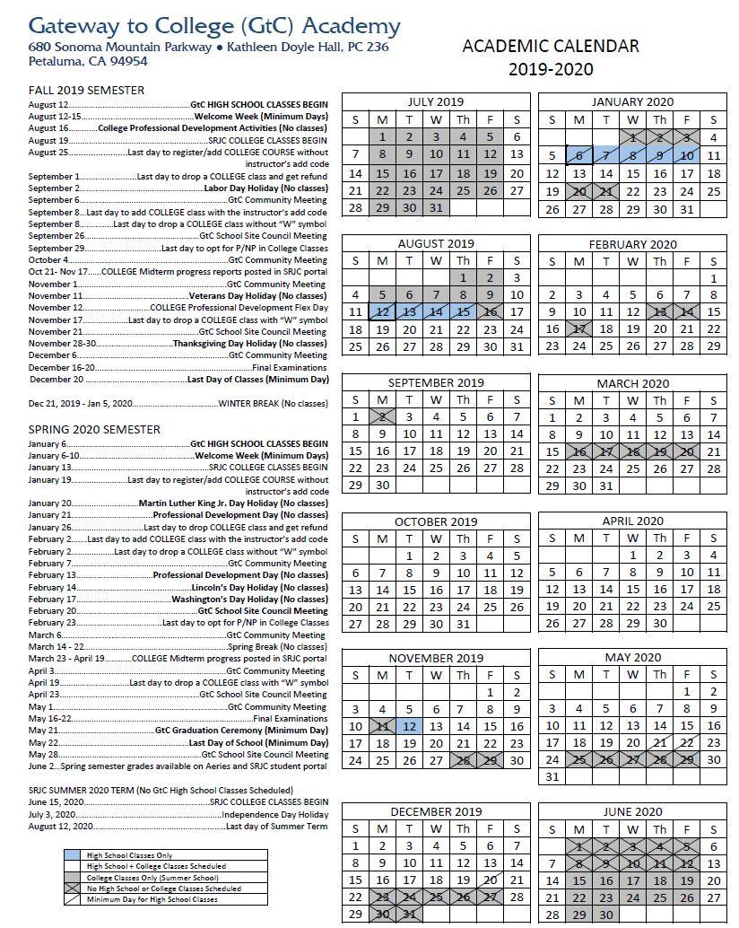 Academic Calendar | Gateway To College With Regard To San Leandro High School 2014 Calendar