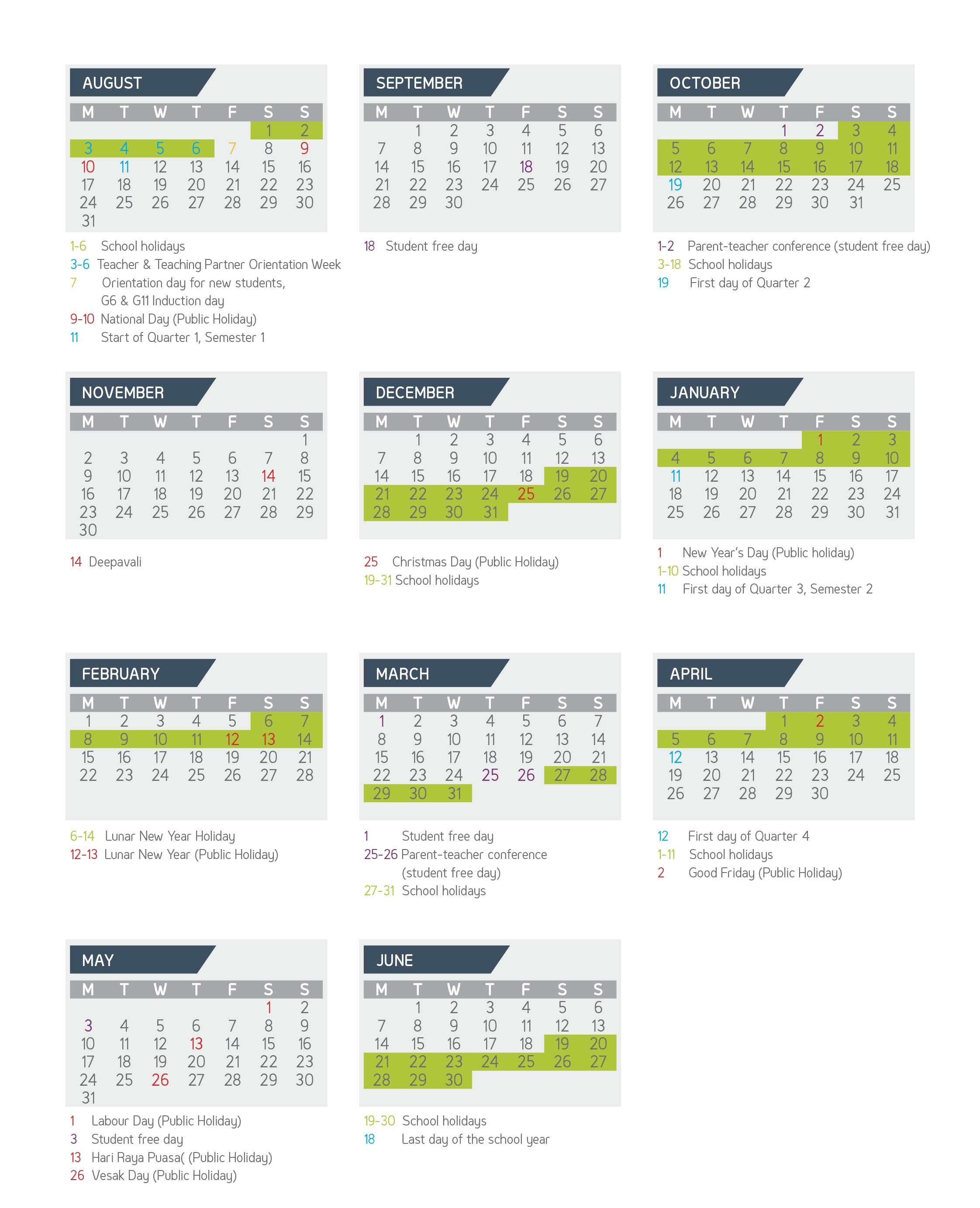 Academic Calendar | Gems World Academy Singapore In Georgia State University Academic Calendar