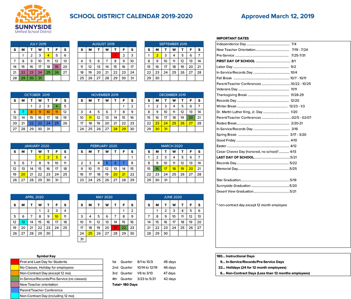 Academic Calendar | Sunnyside Unified School District intended for Scottsdale Unified School District Calendar