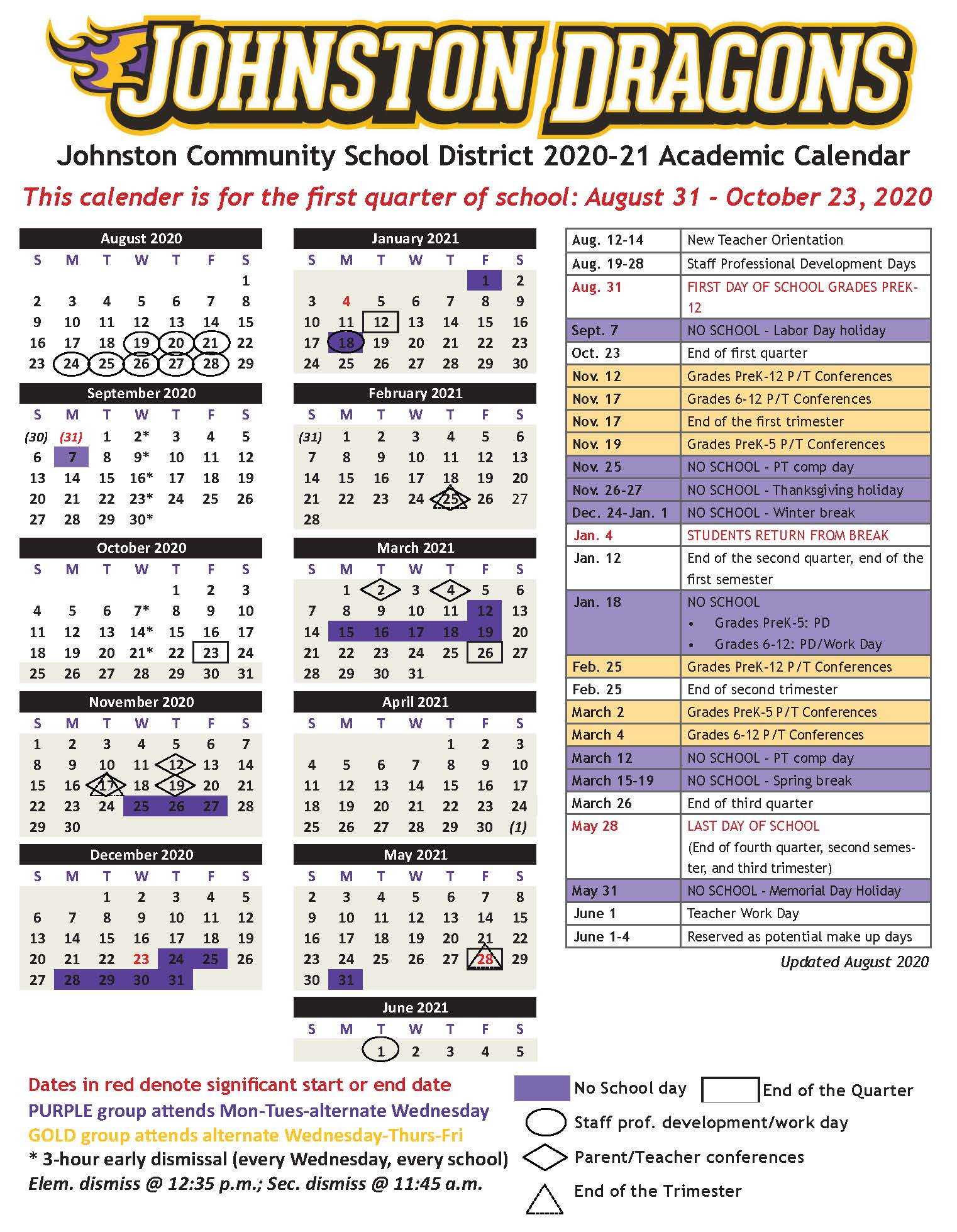 Academic Calendars - Johnston Community School District intended for Johnston County Public Schools Nc 2021-2021 Student Calendar