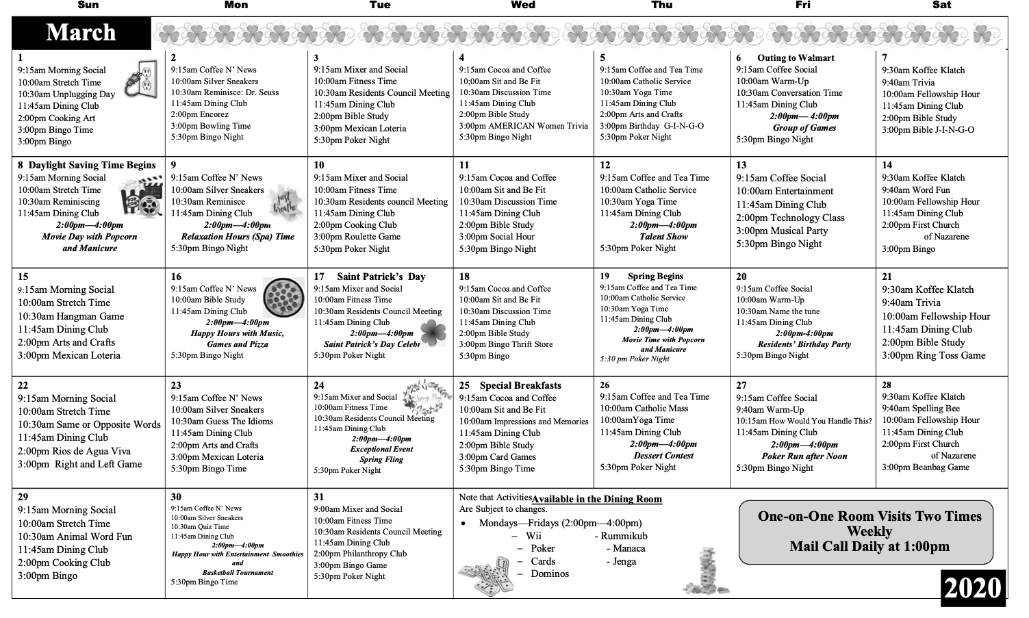Activity Calendar – Waterman Canyon Post Acute With Mexican Calendar With Saint Names