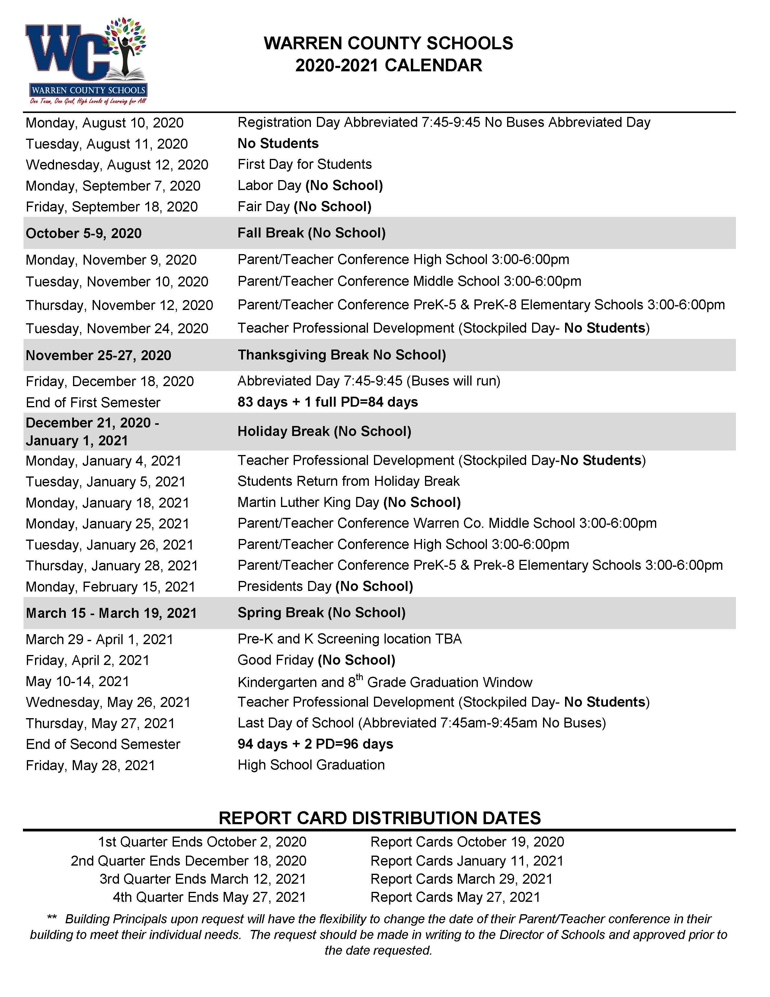 All News - Warren County Schools Inside Warren County Ky School Fall Break 2021