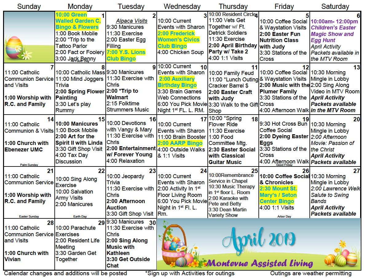 April 2019 Resident Activity Calendar For Montevue Assisted With Activity Calendar For Assisted Living