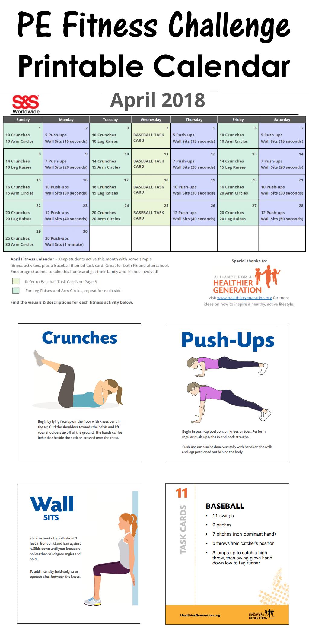 April Printable Fitness Challenge Calendar – S&s Blog Throughout Fitness Challenge Calendars For Students Pdf