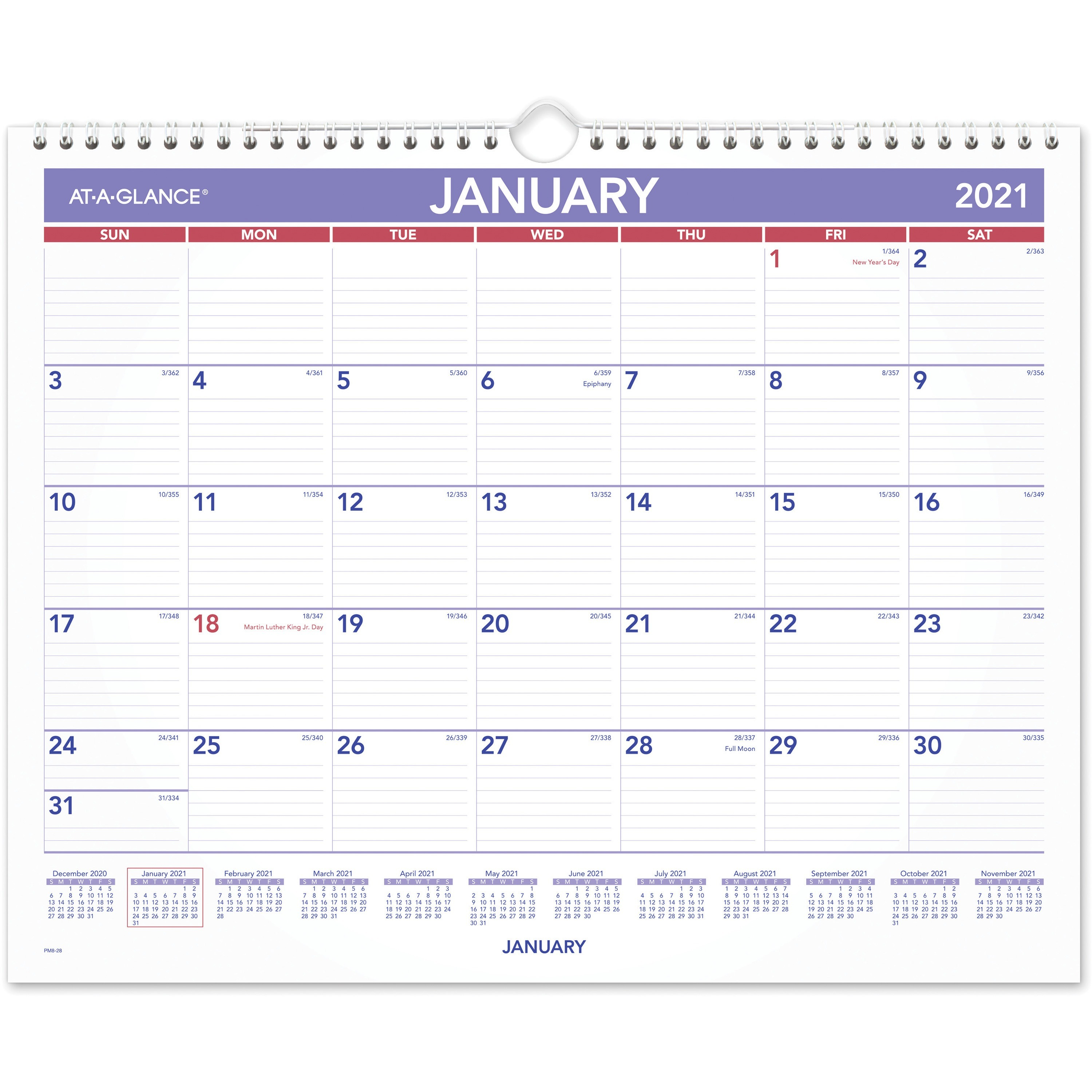 "At A Glance Monthly Wall Calendar – Julian Dates – Monthly – 1 Year –  January 2021 Till December 2021 – 1 Month Single Page Layout – 15"" X 12""  Sheet Inside Grand Ledge School Calendar 2021"