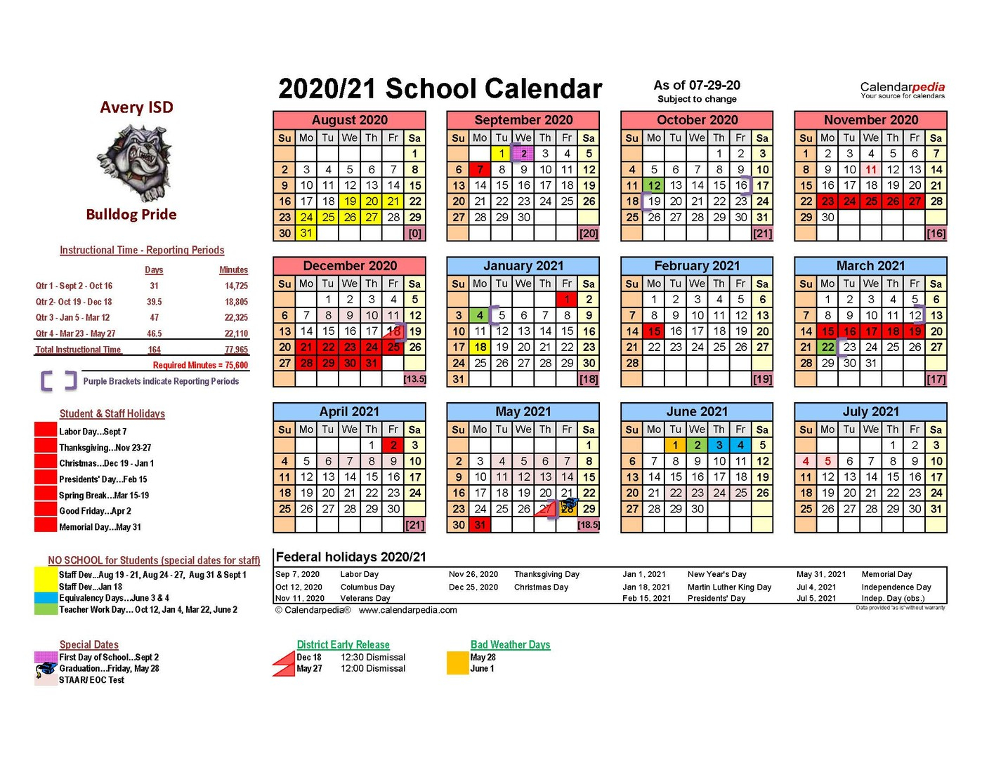 Avery Isd - Revised 7/29/2020 Avery Isd 2020 2021 District In Corona School District Calendar 2021 2020