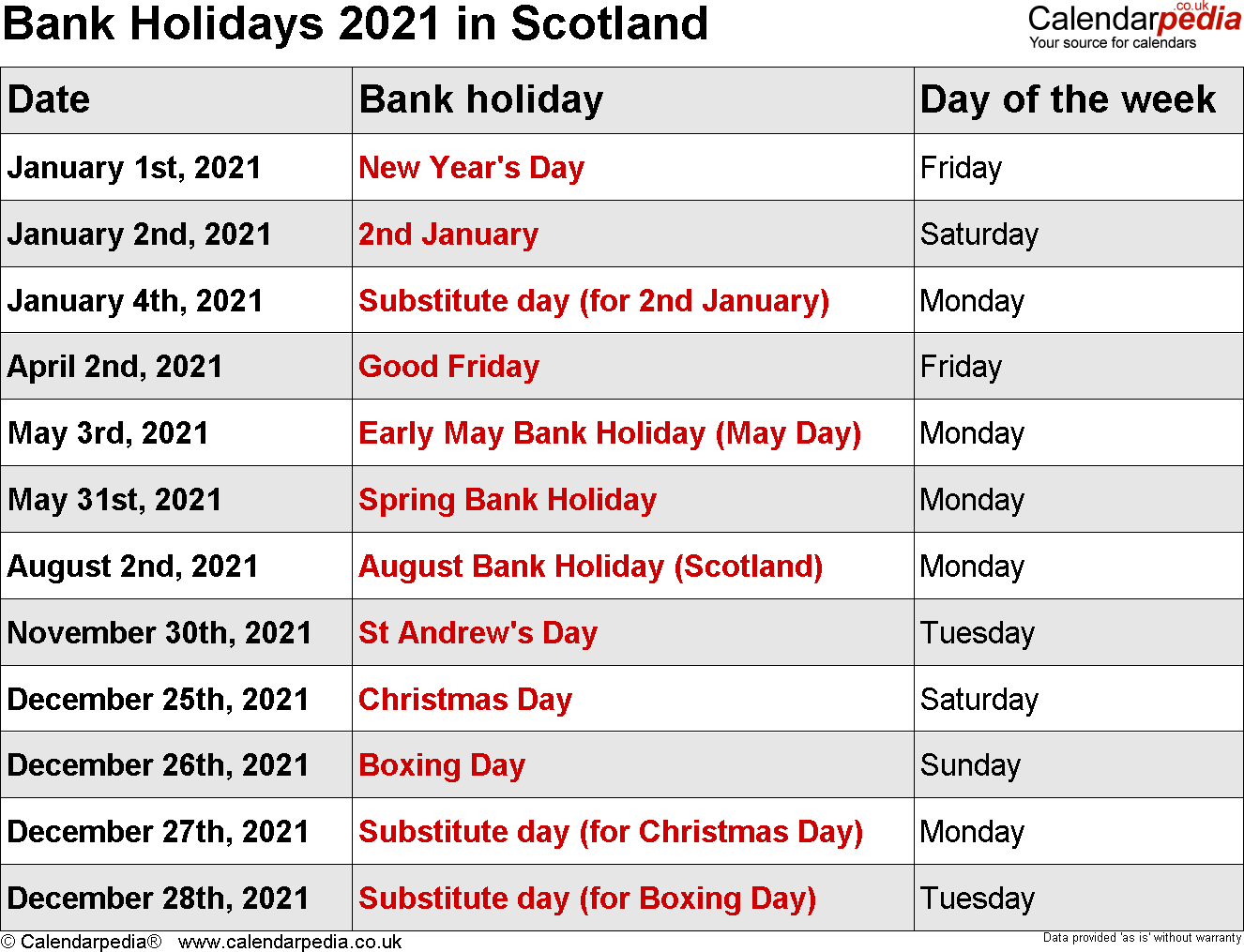 Bank Holidays 2021 In The Uk, With Printable Templates For University Of Glasgow Holiday Calender 2021