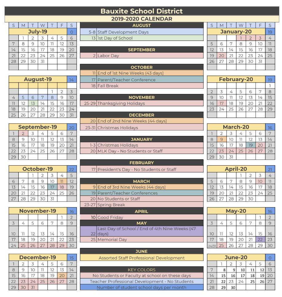 Bauxite Public Schools With Regard To Pine Bluff School District Calendar 2021