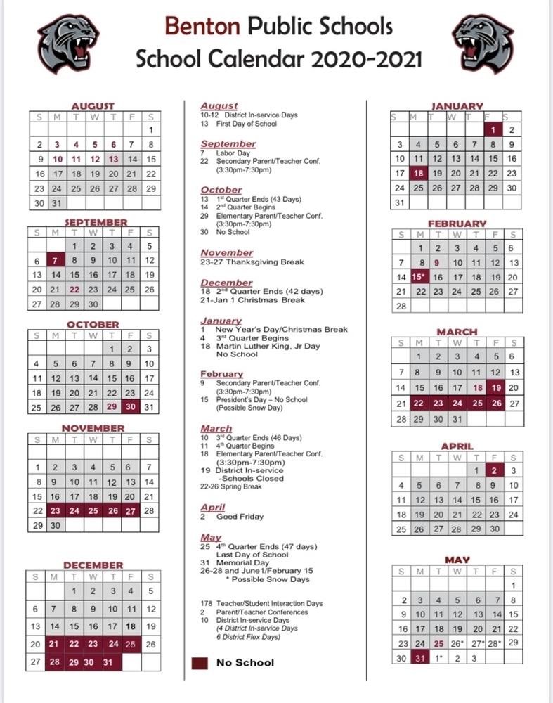 Benton School District With Pine Bluff School District Calendar 2021