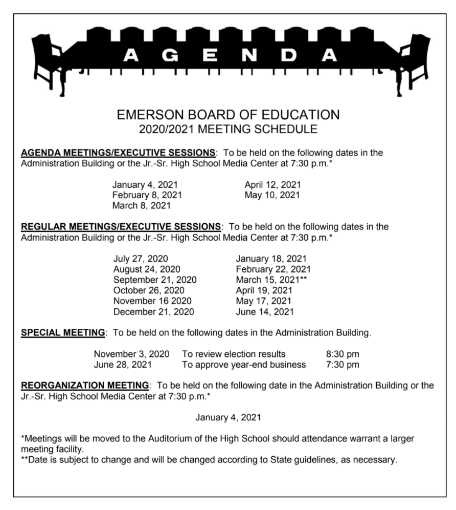Board Of Education Meeting Dates | Meeting Dates | Emerson For Nyc School Calendar For 2015 2020