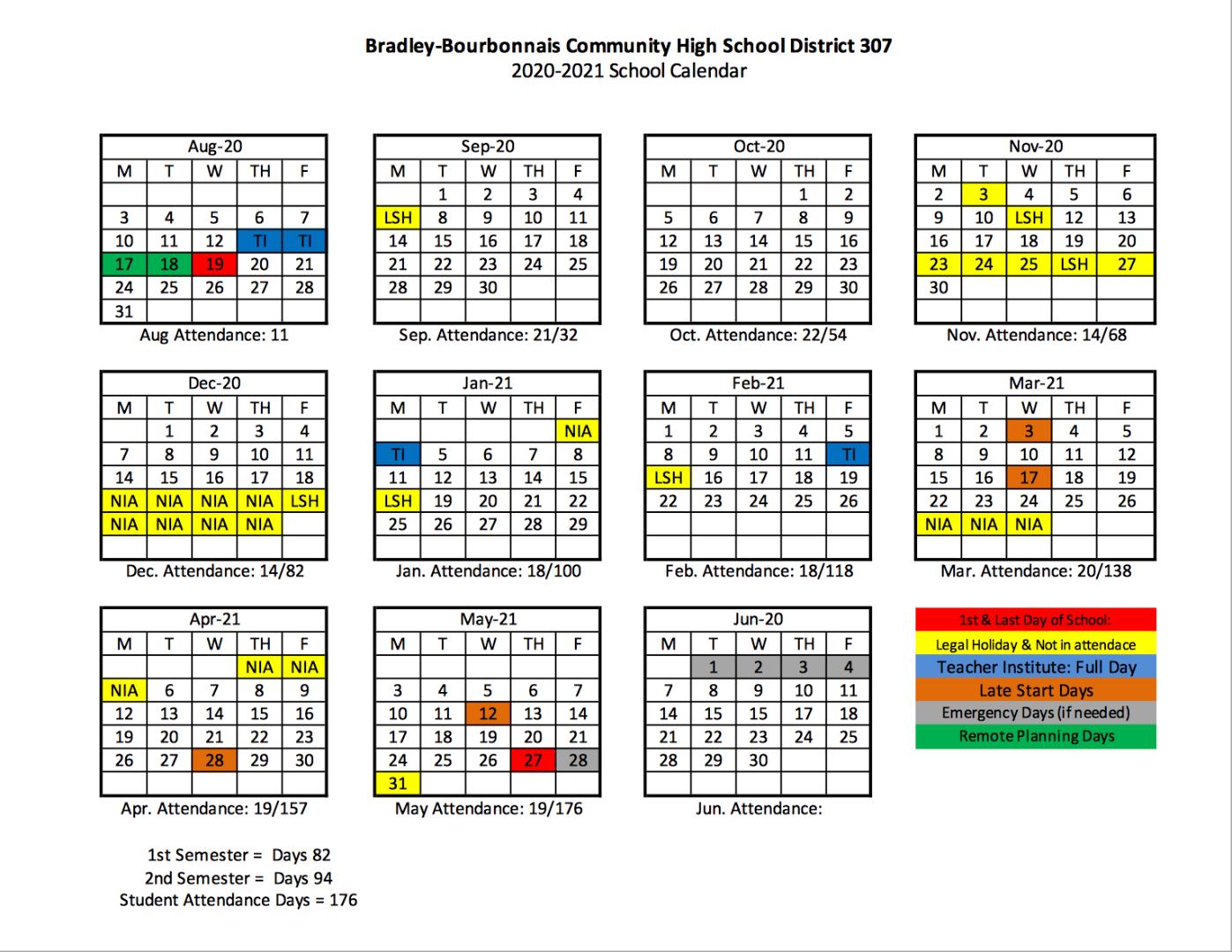 Bradley Bourbonnais Community High School District 307 With Regard To Illinois State University Calendar 2021