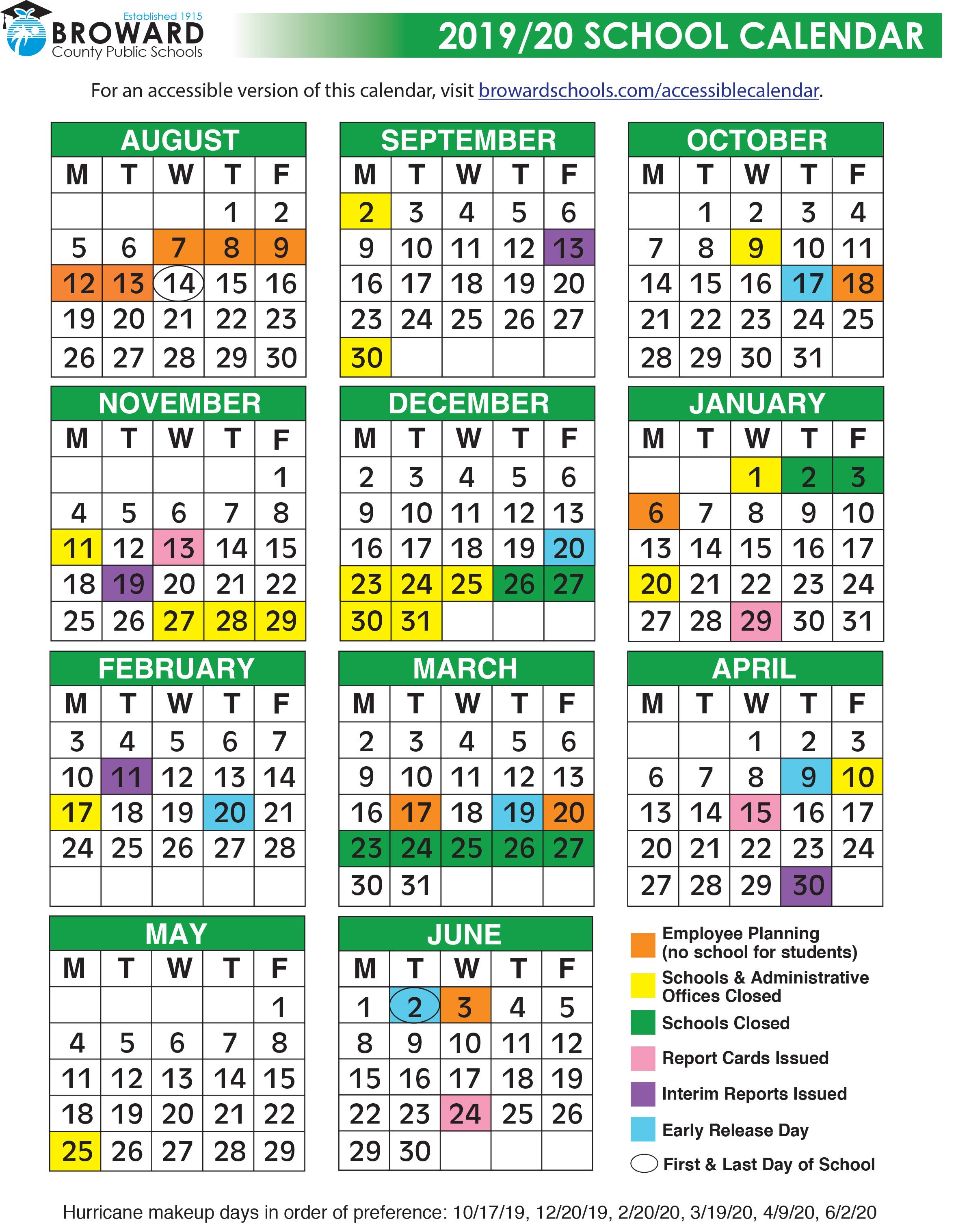 Broward County Public Schools 2019/2020 Calendar - Tamarac Talk Throughout Port St Lucie School District Calendar