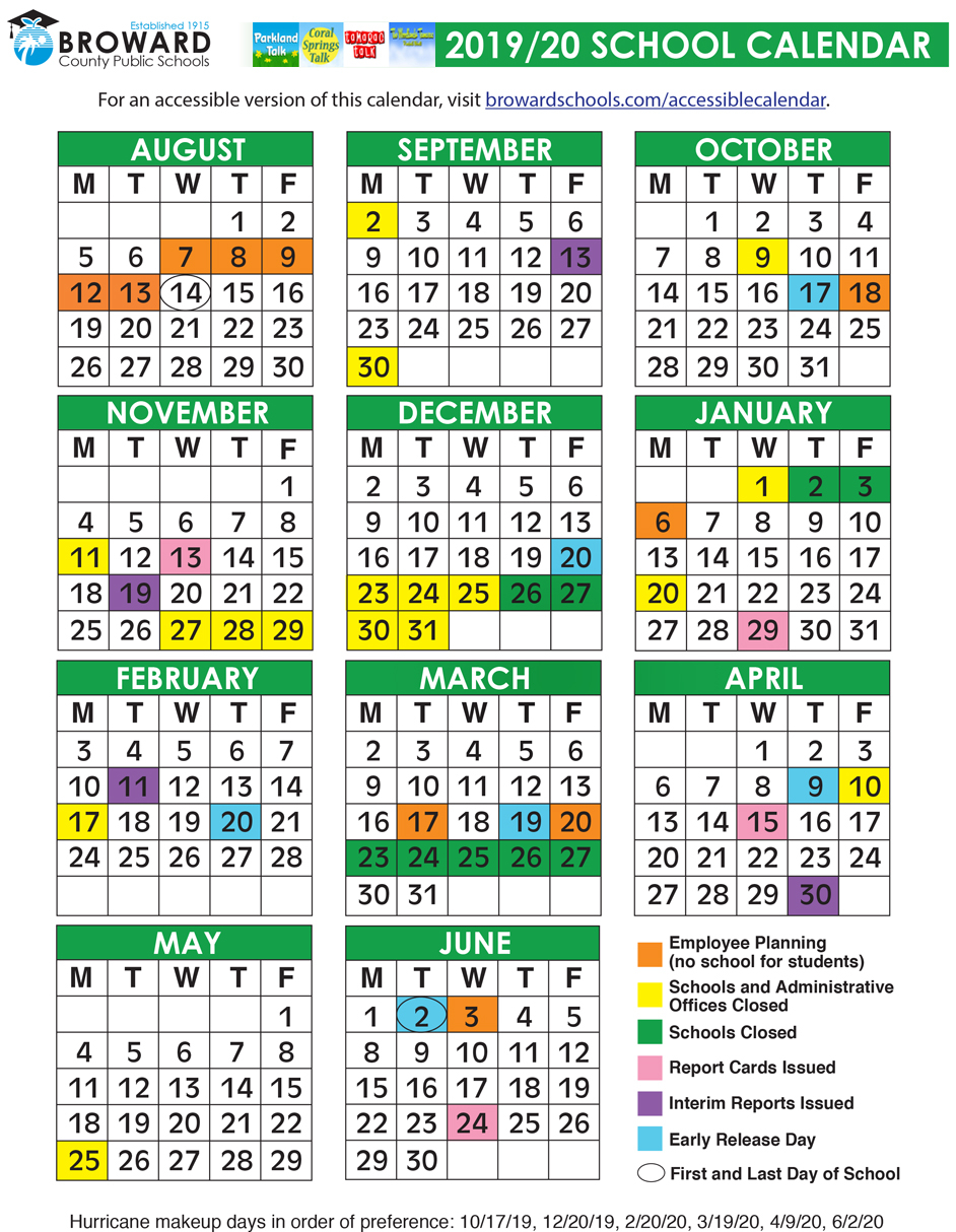 Broward County Public Schools Official 2019/2020 Calendar Intended For Orlando Florida Public School Schedule