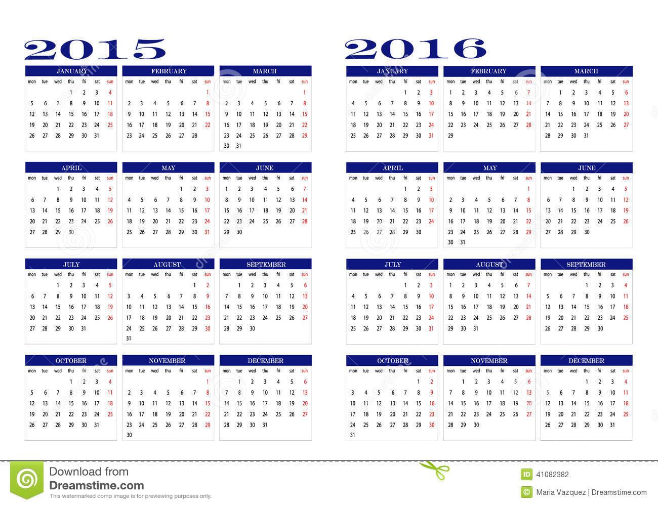 Calendar 2015 And 2016 Stock Vector. Illustration Of Colors Regarding Doe School Calnder 2015 2020