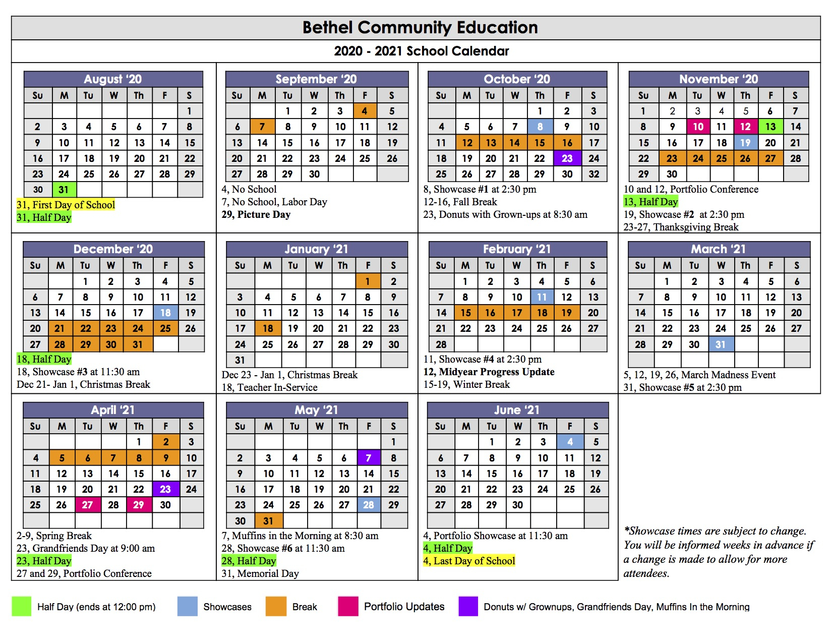 Calendar – Bethel Community Education Pertaining To Grand Ledge School Calendar 2021