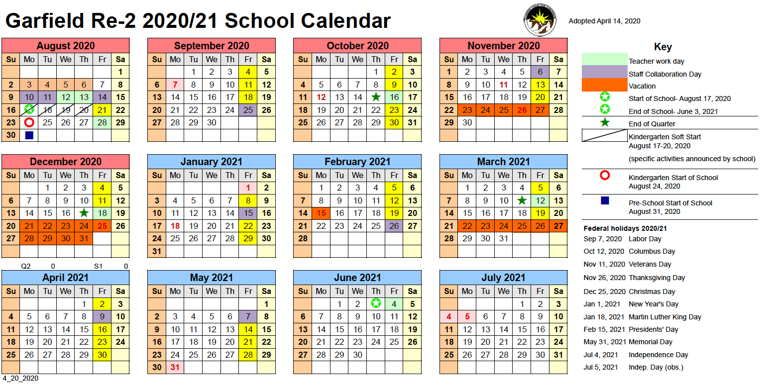 Calendar – Garfield School District No. Re 2 In Independence Mo Printable School Calendar