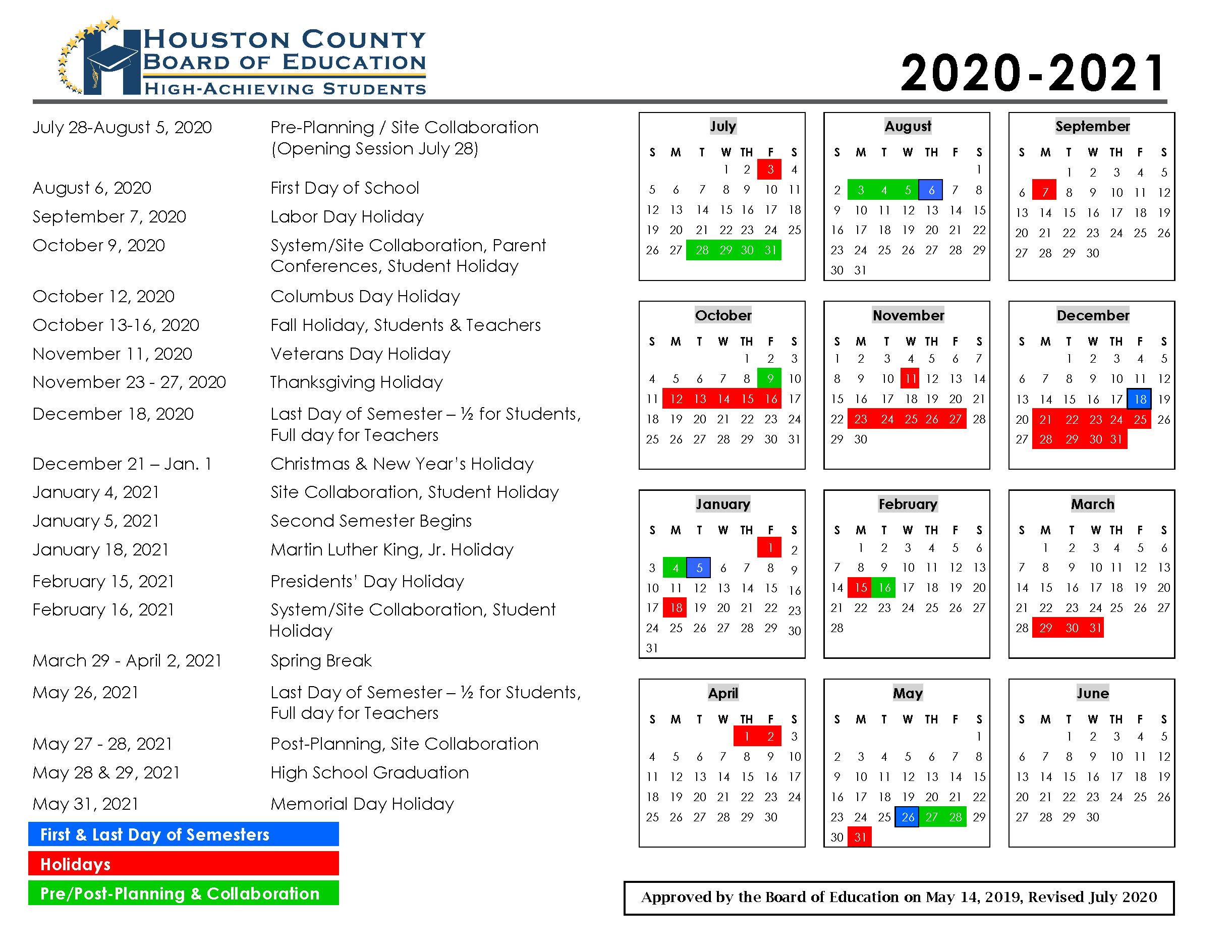 Calendar – Houston County Schools Within Hall Co Ga School Calendar