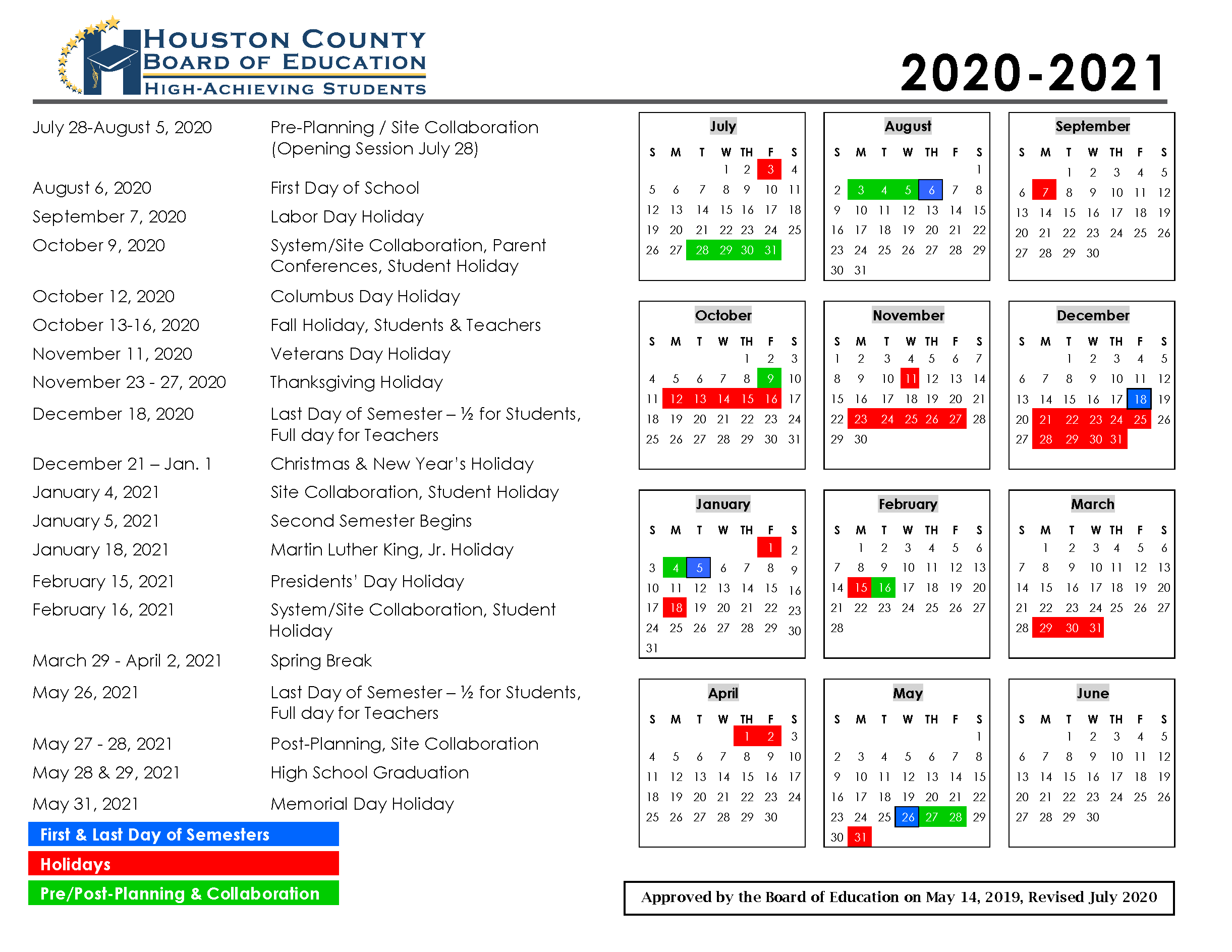 Calendar - Houston County Schools within Houston Countyboard Of Education Calendar 2021