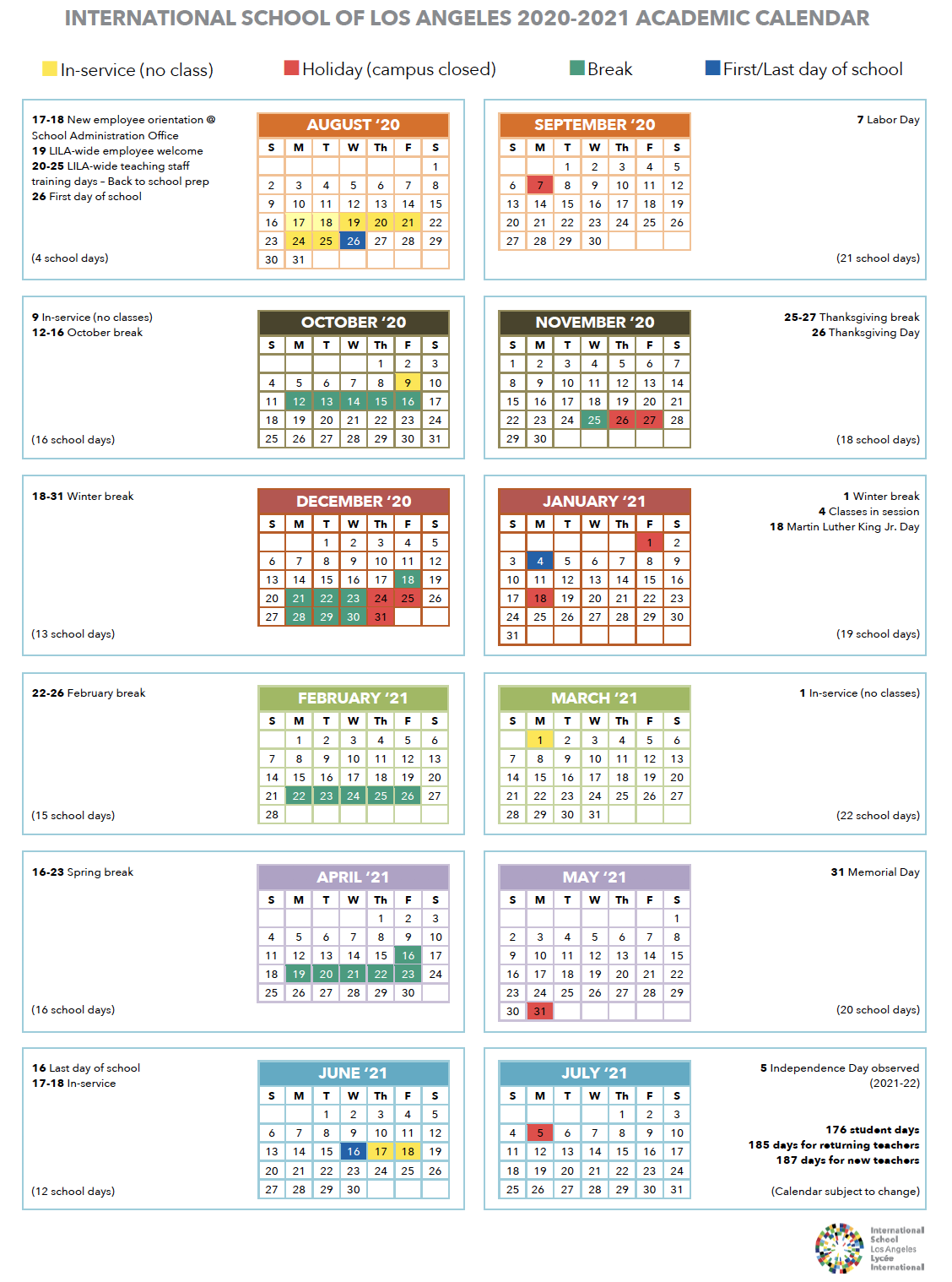 Calendar | International School Of Los Angeles Intended For Burbank Unified School District Calendar 2021