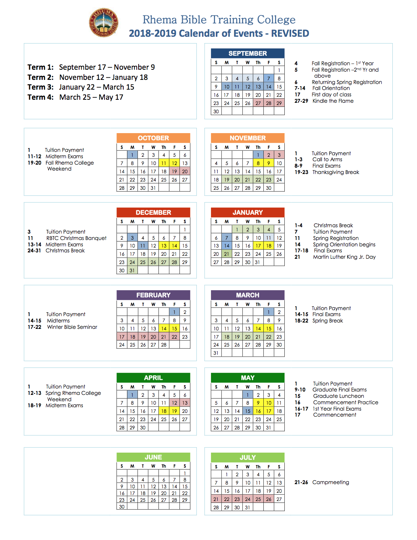 Calendar - Rbtc In Academic Calendar 2021 Tulsa University