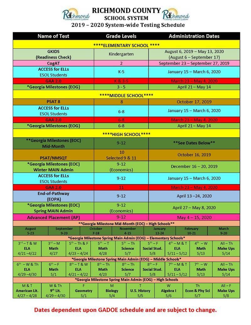Calendars / Testing Calendar Intended For Richmond Countyboard Of Education 2021 Calendar