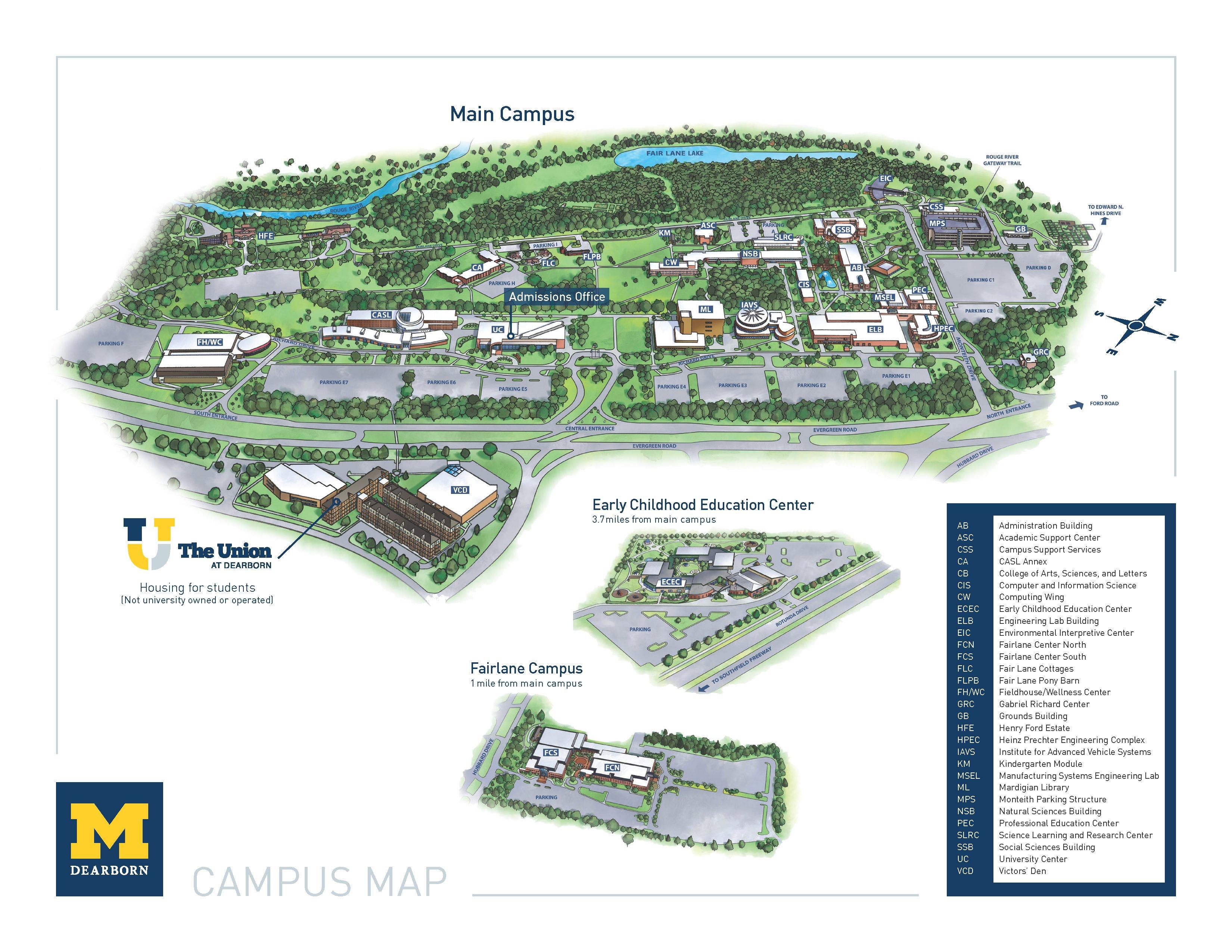 Campus Map < Um Dearborn Regarding U Of M Dearborn Academic Calender
