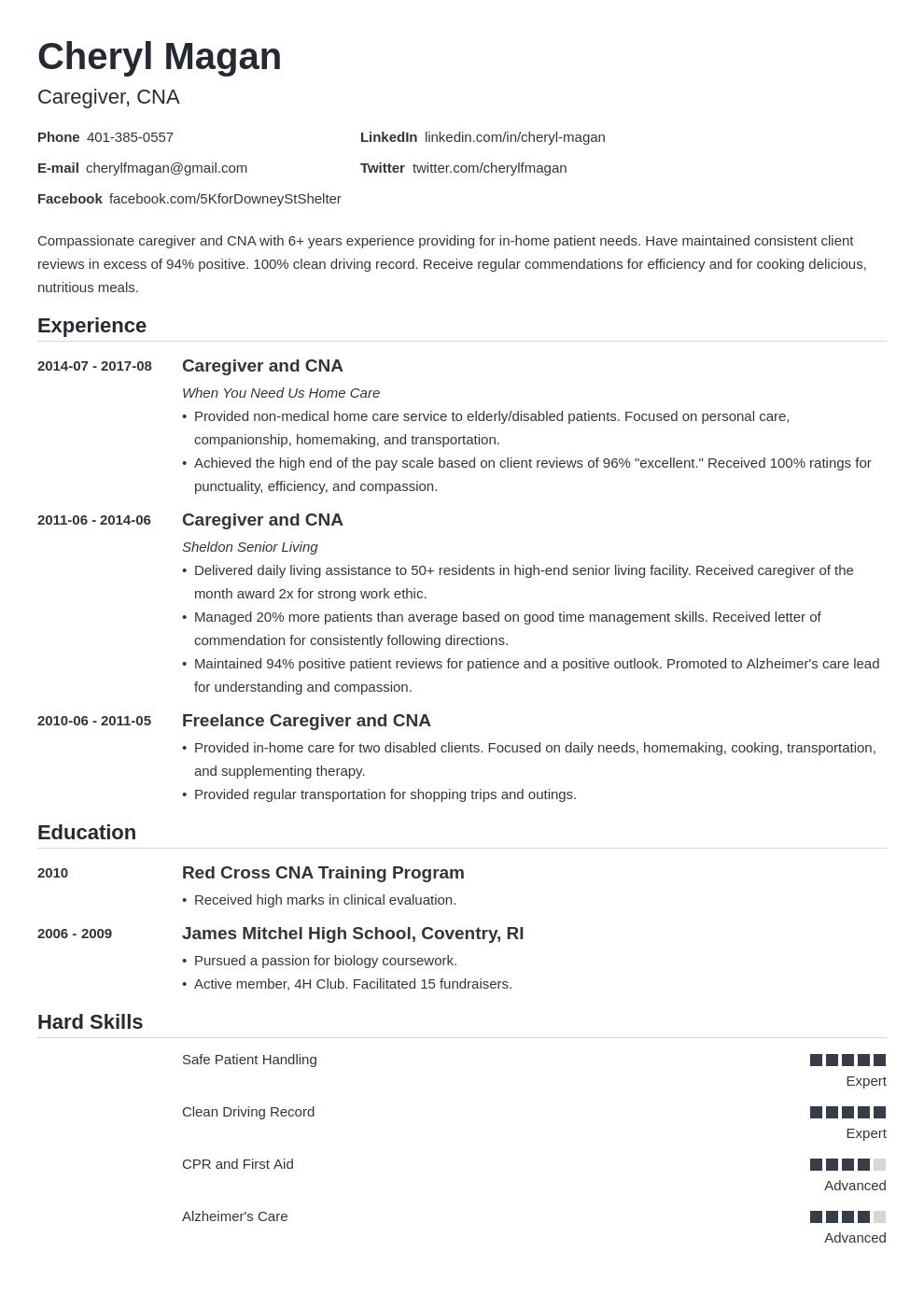 Caregiver Resume Examples (Skills, Duties & Objectives) Intended For Assisted Living Rules And Regulations Template