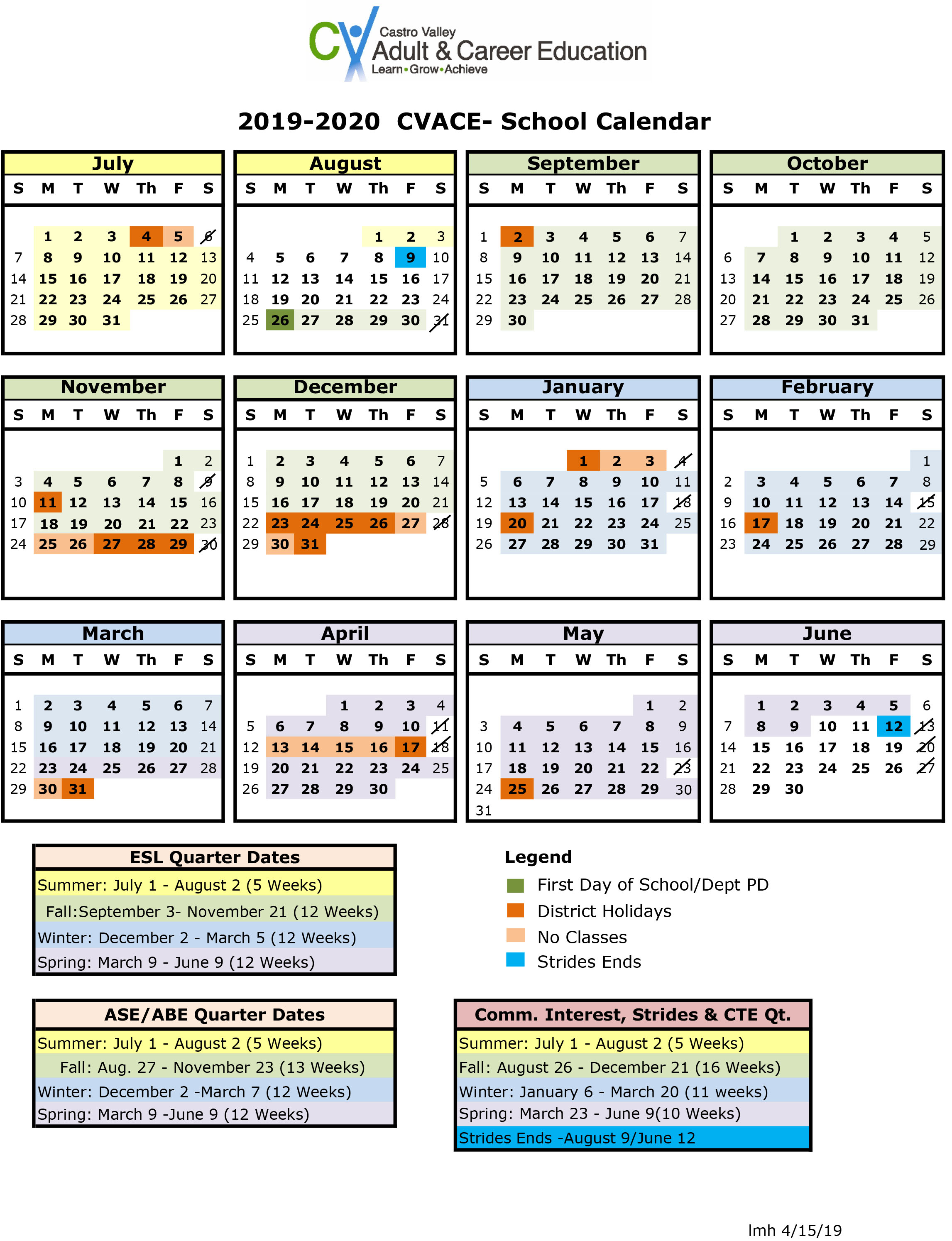Castro Valley Adult And Career Education - Calendar with Amador Valley High School Calendar