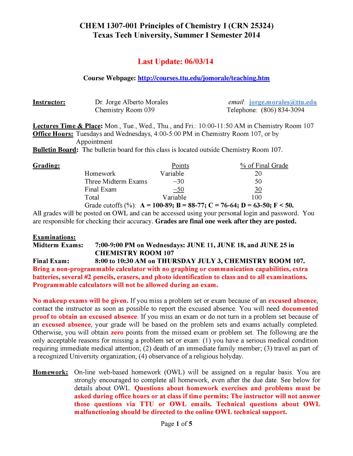 Chemistry Syllabus – Chem 1307 – Ttu – Studocu Inside Texas Tech University Semester Schedule