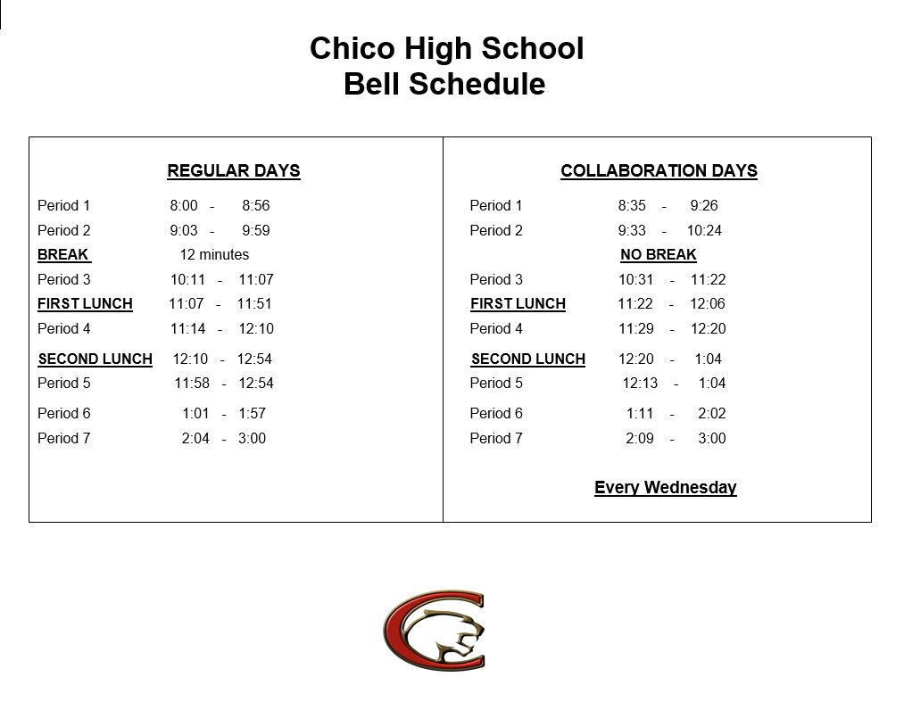 Chico High School - Chs Calendar Within Point Loma School District Spring Break Calendar