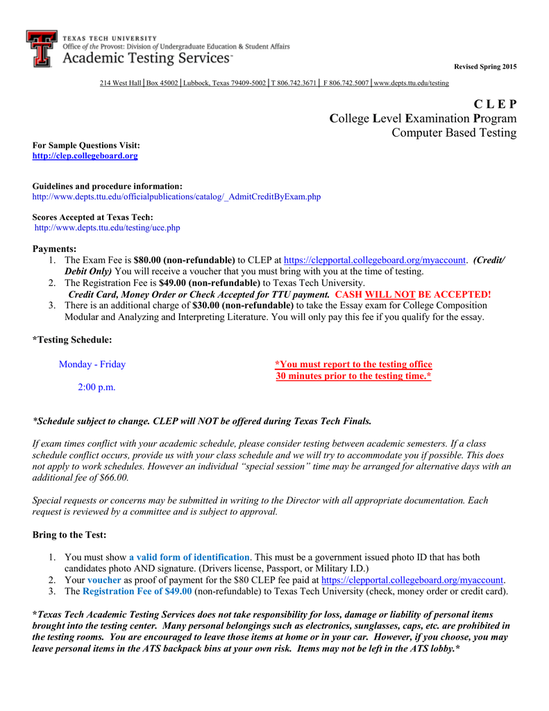 Clep Application Material - Texas Tech University Departments with Texas Tech University Semester Schedule