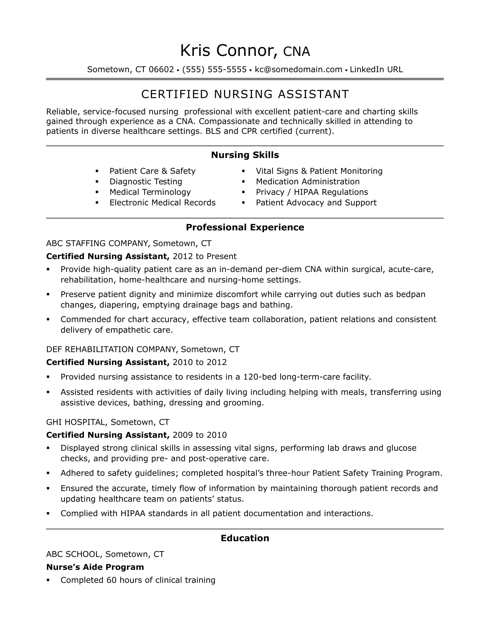 Cna Resume Examples: Skills For Cnas | Monster Inside Assisted Living Rules And Regulations Template