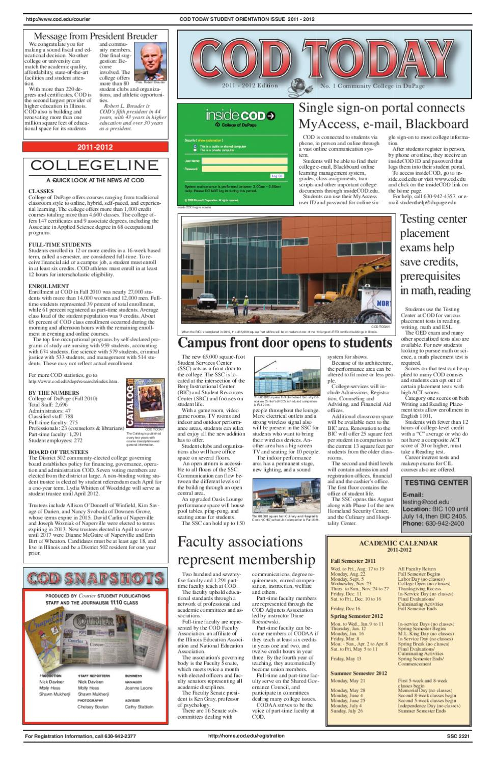 Cod Today 2011 2012Courier Student Newspaper – Issuu For Central College Of Dupage Academic Calendar