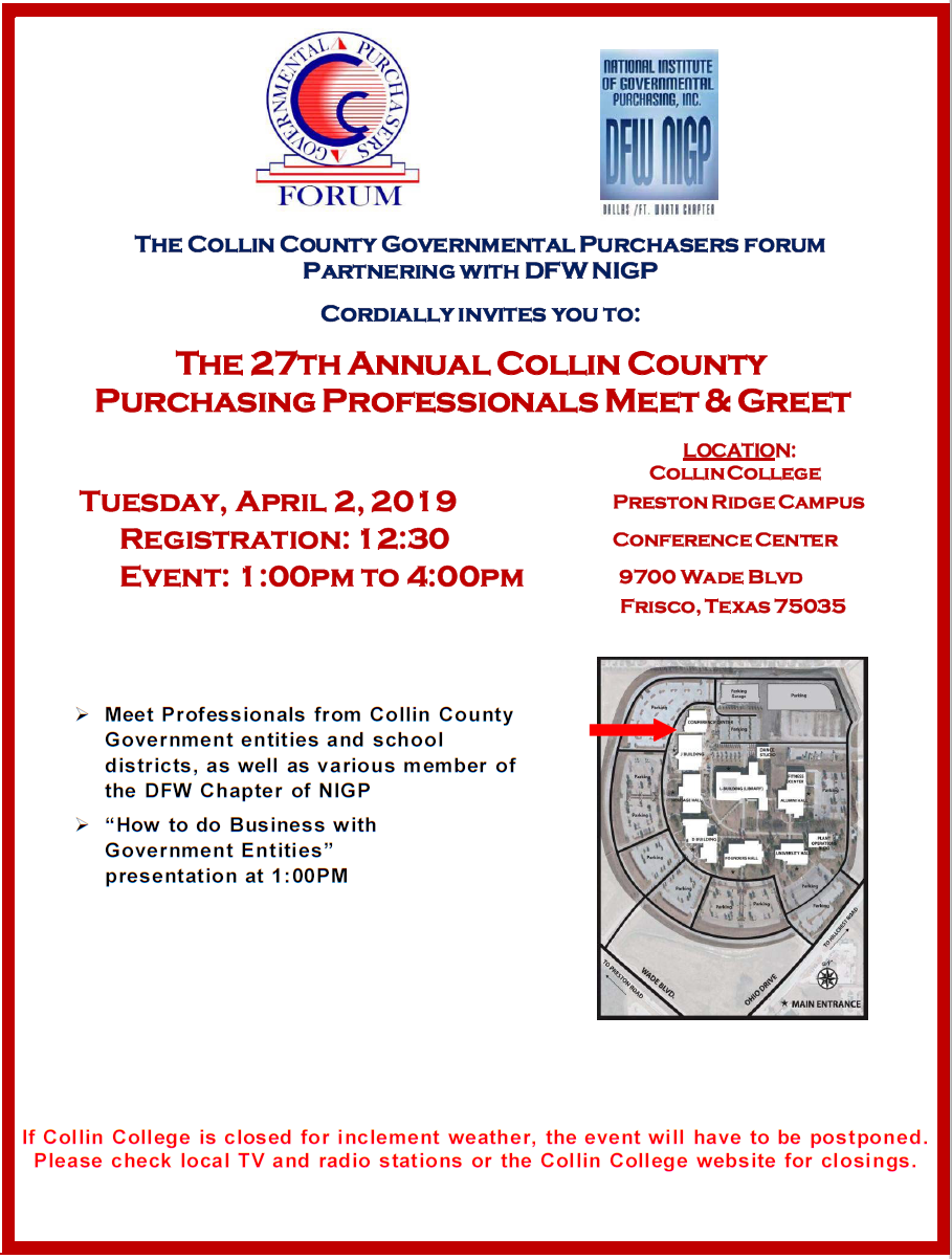 Collin County Governmental Purchasers' Forum Vendor Meet Regarding Collin County College Calendar