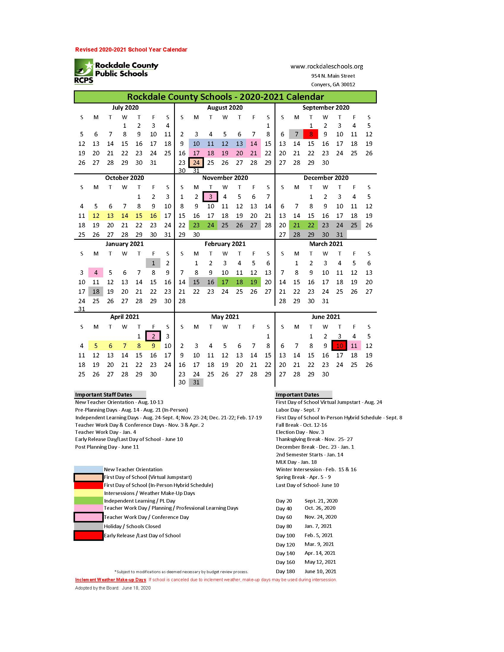 Covid 19 – Rockdale County Public Schools With Pine Bluff School District Calendar 2021