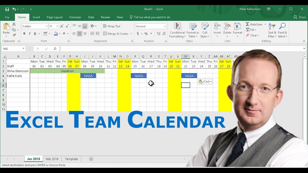 Create A Team Calendar In Excel Throughout Convert Spreadsheet To Calendar